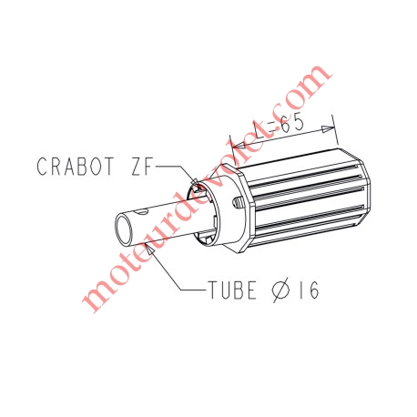 Embout Court Octo 40 à Crabot Zf Femelle Axe ø 16 mm Mâle longueur 58 mm