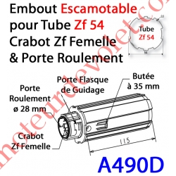Embout Escamotable Zf 54 Crabot Zf Femelle Porte Roulement ø28 Pds Tab Max 25 kg