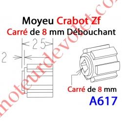 Moyeu Crabot Zf Mâle - Carré de 8 mm Femelle Débouchant