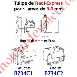 Tulipe Tradi Express Gauche pour Lame de 8 à 11 mm Bombé de 6 mm en Fond Coloris Beige