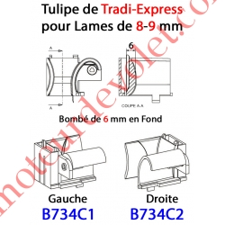 Tulipe Tradi Express Droite pour Lame de 8 à 11 mm Bombé de 6 mm en Fond Coloris Beige