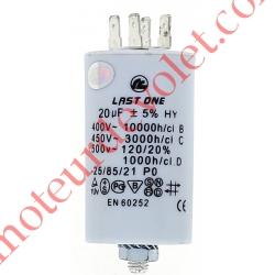Condensateur Permanent à Cosses 20µF ±5% 250 v
