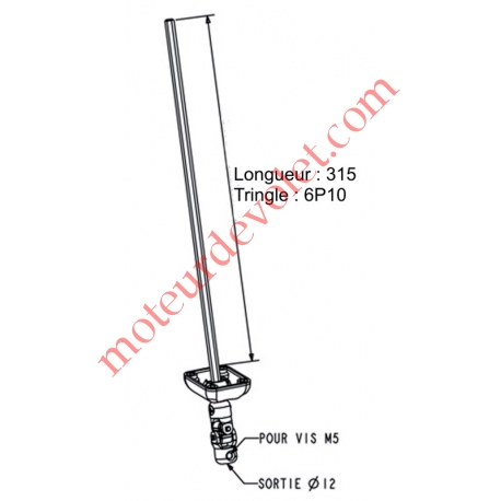 Sortie Bloc-Guide 45° Platine 44x50 Genouillère ø12 Femelle-Hexa10 lg 315 Avec Vis Coloris Blanc
