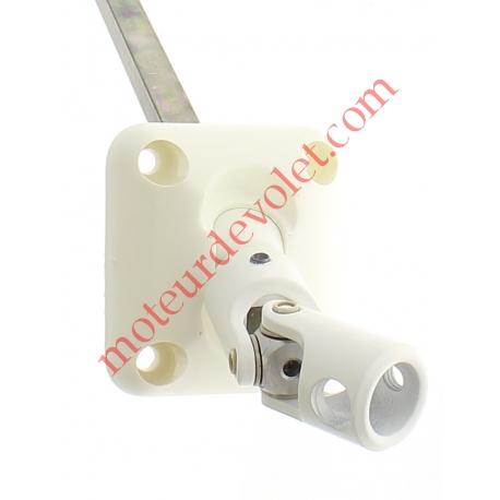 Sortie Bloc-Guide 45° Platine 44x50 Genouillère ø12 Femelle-Carré 8 lg 315 Avec Vis Coloris Blanc