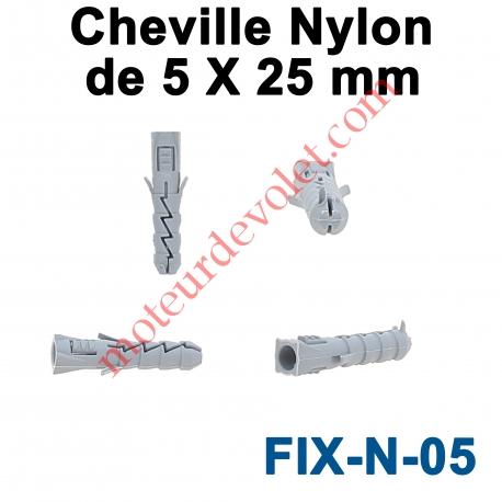 Cheville Nylon Sans Collerette 5 x 25 mm pour Fixation dans Matériau Plein