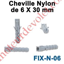 Cheville Nylon Sans Collerette 6 x 30 mm pour Fixation dans Matériau Plein