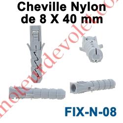 Cheville Nylon Sans Collerette 8 x 40 mm pour Fixation dans Matériau Plein