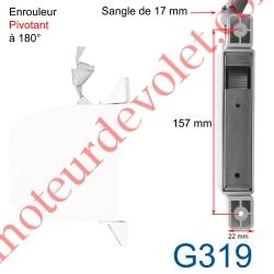 Enrouleur Pivotant de Sangle Alutoile Blanc Largeur 17 mm Longueur 5 m