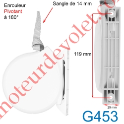 Enrouleur Pivotant de Sangle Conviv Blanc Largeur 14 mm Longueur 5 m