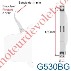 Enrouleur Pivotant de Sangle Open Carré Blanc Largeur 14 mm Longueur 5 m
