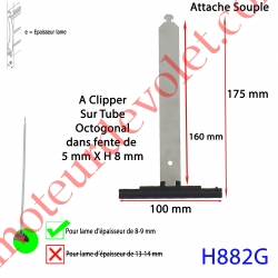 Attache Tablier Grise Longueur 175 mm à Clipper Fente 5x8 sur Tube Octo pour Lame 8-9 mm