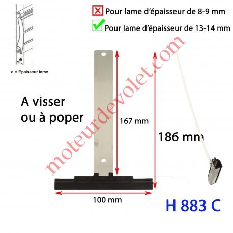 Attache Tablier Noire Longueur 179 mm à Visser pour Lame 13-14 mm d'épaisseur