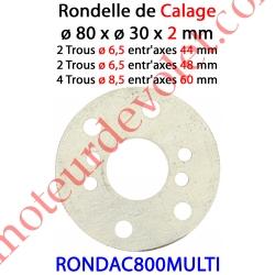 Rondelle de Calage de Support Moteur en Acier ø 80 x 16,5 x 2 mm Entr'axes 44 - 48 & 60 mm