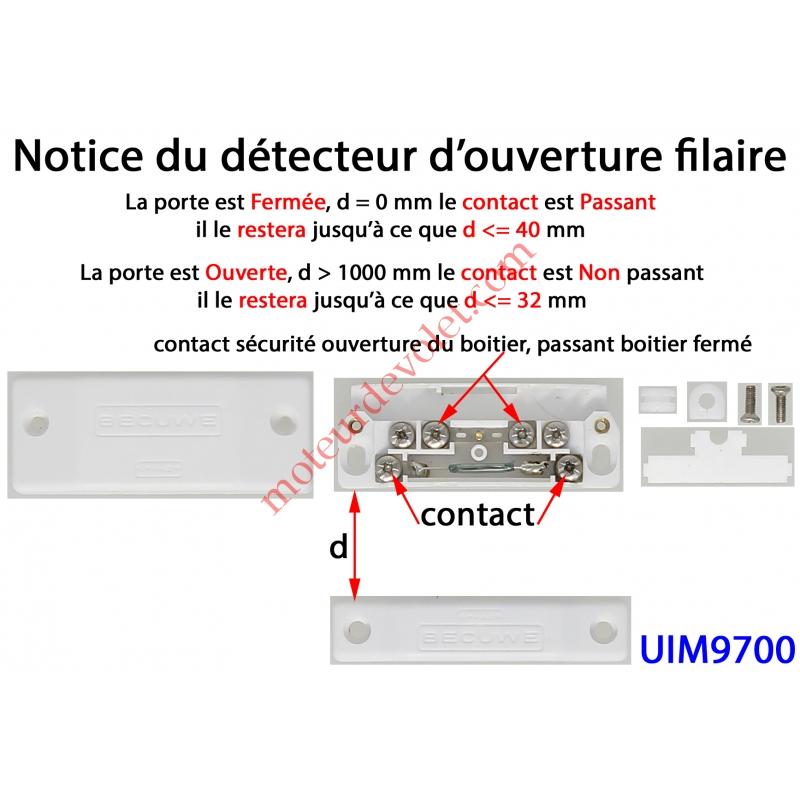 elkron uim9700 d tecteur d 39 ouverture visser coloris blanc pour alarme filaire. Black Bedroom Furniture Sets. Home Design Ideas