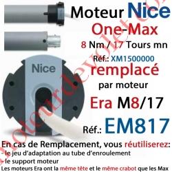 Moteur Nice Filaire One Max 8/17 Av FdC Manuels M 50 sans Mds.Remplacé par EM817