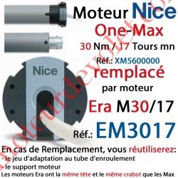 Moteur Nice Filaire One Max 30/17 Av FdC Manuels M 50 sans Mds;Remplacé par EM3017
