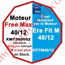 Moteur Nice Radio Free-Max 40/12 Av FdC Electro & Fréquence 433,92MHz Rolling Code M 50 sans Mds:Remplacé par EFITM4012