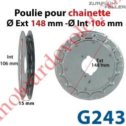 Poulie ø 150 pour Chaînette au pas de 13 mm se monte sur embouts A296, A297, A292 ou G279