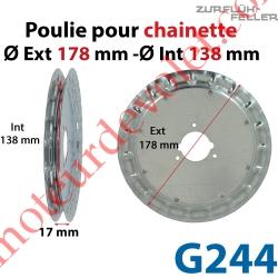 Poulie ø 180 pour Chaînette au pas de 13 mm se monte sur embouts A296, A297, A292 ou G279
