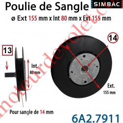 Poulie de Sangle Avec Démultiplicateur de Force 1/2  diamètre 155 mm pour Sangle de Largeur Maxi 14mm