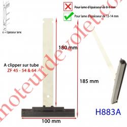 Attache Tablier Noire Lg 180 mm à Clipper sur Tube Zf pour Lame 13-14 mm d'épaisse