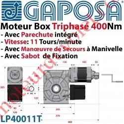 Moteur Box LP40011T 400Nm 11 Tours Minute 400v Triphasé à Arbre Creux ø 40 Avec Parechute et MdS par Manivelle