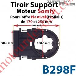 Tiroir Support Moteur Somfy LT Sans Clip en Matériau Composite pour Coffre Plastival (Profialis) de 170 et de 250 mm