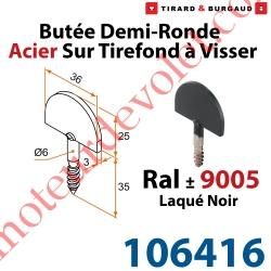 Butée Droite Tirefond à Visser en Acier Zingué Laqué Noir ± Ral 9005