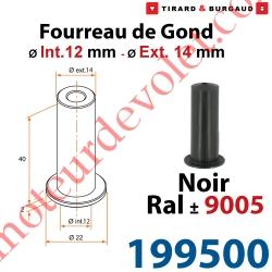 Fourreau de Gond ø 12mm - ø 14 mm en Matériau Composite Noir ± Ral 9005