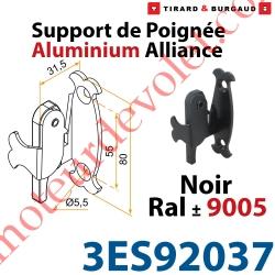 Support Poignée Alliance Avec Sécurité et Protection à Visser en Aluminium Laqué Noir ± Ral 9005 (Sans vis)