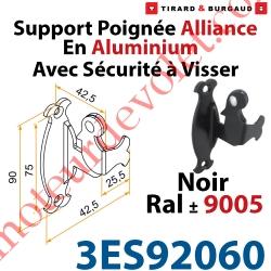 Support Poignée Alliance Avec Sécurité à Visser en Aluminium Laqué Noir ± Ral 9005 (Sans vis)