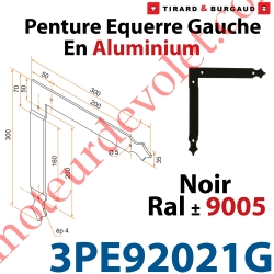 Penture Equerre Réglable 300x300mm Gauche en Plat Aluminium de 35x4mm Percée de 4 Trous Diamètre 5mm Laqué Noir ± Ral 9005