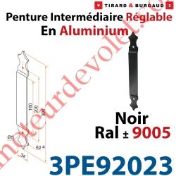 Penture Intermédiaire Réglable Longueur: 300mm en Plat Aluminium de 34x4mm Percée de 2 Trous Diamètre 5mm Laqué Noir ± Ral 9005