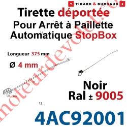 Tirette en inox Longueur 375mm Noir ± Ral 9005 pour Rallonger l'Arrêt à Paillette Automatique StopBox Livré Avec 1 Support