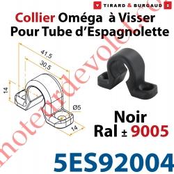 Collier Oméga à Visser en Matériau Composite Noir ±Ral 9005 pour Tube d'Espagnolette Diam 14mm Rainuré en Aluminium (Sans vis)