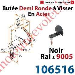 Butée Coudée Tirefond à Visser en Acier Zingué Laqué Noir ± Ral 9005