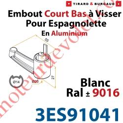 Embout Court Bas modèle Alliance à Visser pour Tube d'Espagnolette Diamètre 14mm Rainuré en Aluminium Laqué Blanc ± Ral 9016