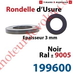 Rondelle d'usure Epaisseur 3 mm en Matériau Composite Noir ± Ral 9005 pour Gond ø 14mm