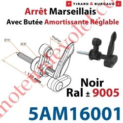 Arrêt Marseillais Tirefond à Visser Lg 130 Matériau Composite Noir ± Ral 9005 Avec Butée Réglable de 5 à 40 mm