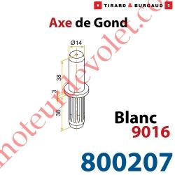 Axe de Gond en Polyamide Avec Insert en Acier pour Gond en Aluminium ø 14 mm Coloris Blanc ± Ral 9016