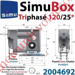 Moteur SimuBox 120/25 Triphasé Arbre Creux diamètre 25,4 Sans Electronique Intégrée ni Fins de Courses Avec Mds Carré 10 Mâle o