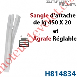 Agrafe Réglable en Acier Zingué Bichromaté Crochet Inox + Sangle d'attache l 20 x L450