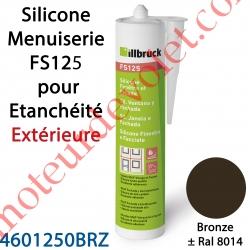 Silicone Menuiserie FS125 pour Etanchéité Extérieure Coloris Bronze ± Ral 8014 en Cartouche de 310 ml