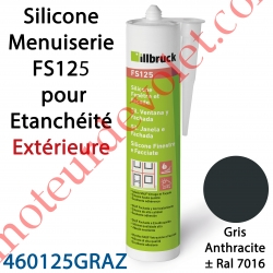 Silicone Menuiserie FS125 pour Etanchéité Extérieure Coloris Gris Anthracite ± Ral 7016 en Cartouche de 310 ml