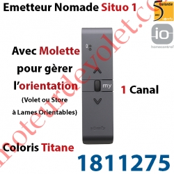 Emetteur Nomade Situo 1 Titane io Avec Molette pour Variation Sans Retour d'Information (1 Canal pour commander 1 Groupe de Mot