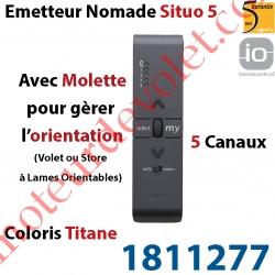 Emetteur Nomade Situo 5 Titane io Avec Molette pour Variation Sans Retour d'Information (5 canaux pour commander 5 Groupes de m