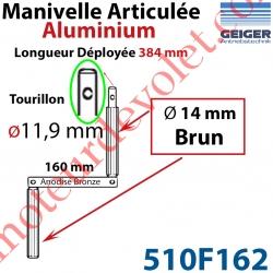 Manivelle Aluminium Bras ø14 mm Lg 160mm Anodisé Bronze Foncé Poignées Brunes Tourillon ø11,9 Lg Utile 384mm