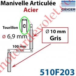 Manivelle Acier Bras ø10 mm Lg 100mm Chromé Poignées Grises Tourillon ø 6,9 Lg Utile xx mm