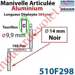 Manivelle Aluminium Bras ø14 mm Lg 160mm Anodisé Noir Poignées Noires Tourillon ø9,9 Lg Utile 384mm