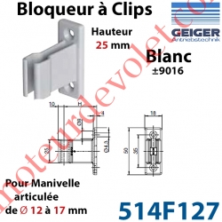 Bloqueur à Clips Prof Fixe de 25 mm pr Tringle Oscillante ø 12 à 17 mm Col Blanc